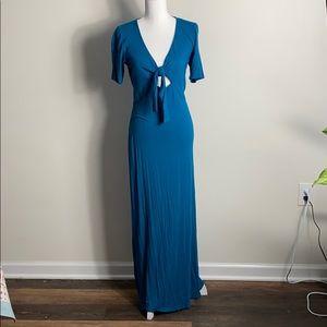 EUC Express Teal Maxi Dress Tie M
